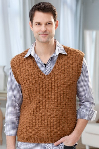 Red Heart® Soft Men's Basketweave Vest #knit #pattern