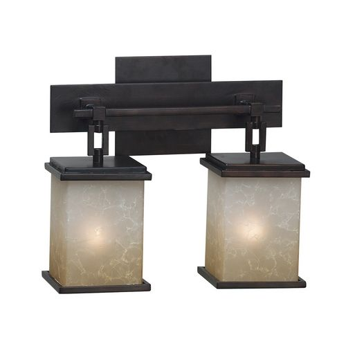 kenroy home lighting modern bathroom light with amber glass in oil rubbed bronze finish
