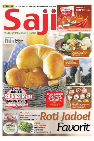 Saji / ED 267 2013 dibahas mengenai roti-roti Jadul/Kuno. Roti kuno sering bikin kangen, sayang tak banyak lagi toko roti yang menjualnya. Yuk cari resepnya di SAJI edisi ini. Pasti hasilnya sesuai rasa roti masa lalu yang selalu kita kenang. Masih banyak resep lain yang bisa Anda praktikkan dan tentu saja sejumlah artikel menarik yang wajib Anda baca. Beli di sini >> http://www.getscoop.com/majalah/saji-ed-267-2013