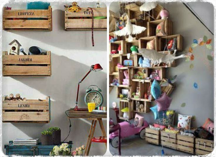 des caisses de bois dans la dco aventure dco caisse recup etagere enfants kids chambre lire la suite de larticle httpwwwaventured - Etagere Enfant Deco