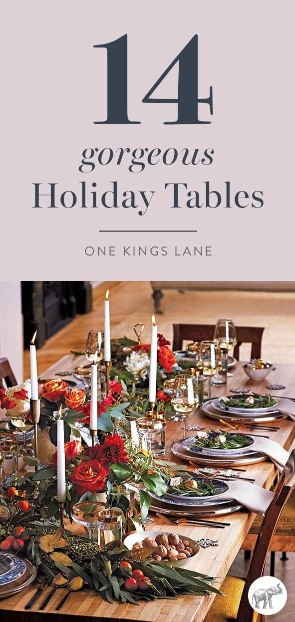 Get inspired to DIY the gorgeous Christmas or holiday table of your dreams using our 14 favorite designs as inspiration! Here, candlelight and stunning decoration create an atmosphere that makes guests want to linger. Try snaking a garland down the center of the table as an alternative to flowers. Love this rustic but refined style!