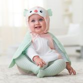 Dress baby's first Halloween in a microfleece owl bubble costume with matching cotton tee. She'll be a hoot in pictures and matching striped tights.<br>