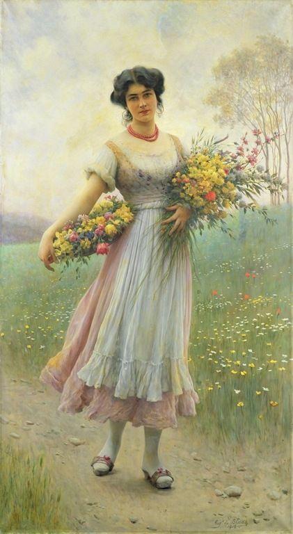Spring flowers by Eugen von Blaas or Eugene de Blaas