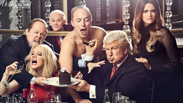 Melissa McCarthy as Sean Spicer, Kate McKinnon as Kellyanne Conway (and, digitally added, as Jeff Sessions), Beck Bennett as Vladimir Putin, Alec Baldwin as President Donald Trump and Cecily Strong as Melania Trump were photographed May 8 at the Rainbow Room in New York City.