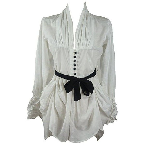 White cotton hitched victorian fitted shirt blouse tunic-12 40... ($22) ❤ liked on Polyvore featuring tops, tunics, fitted shirts, victorian shirt, white shirt tunic, pirate shirt and white tops