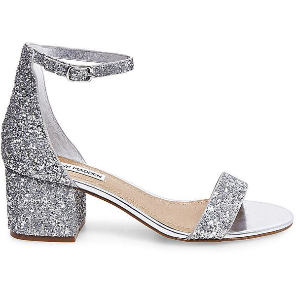 Steve Madden Women's Irenee Heels ($80) ❤ liked on Polyvore featuring shoes, sandals, silver glitter, steve madden footwear, block heel shoes, strap shoes, glitter shoes and retro shoes