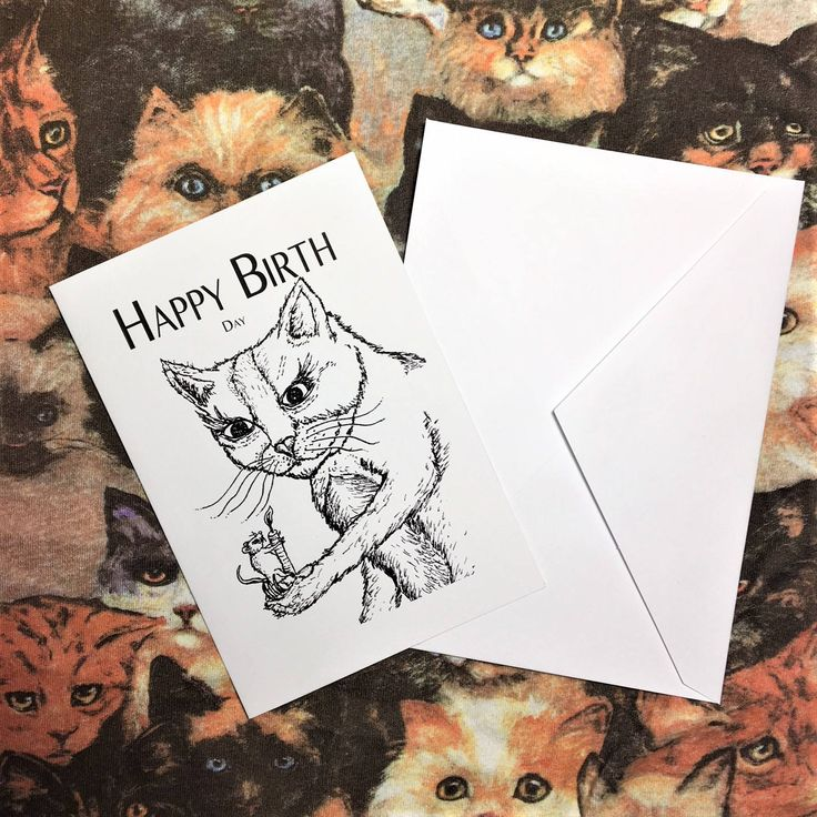 Happy Birthday Card Dark Humor Cat Mouse Funny Twisted Original Art From Artist by OWLEYCAT on Etsy #birthday #cards #originalart #cat #animalart