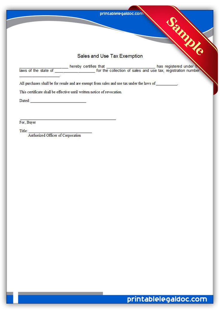 Printable sales and use tax exemption Template