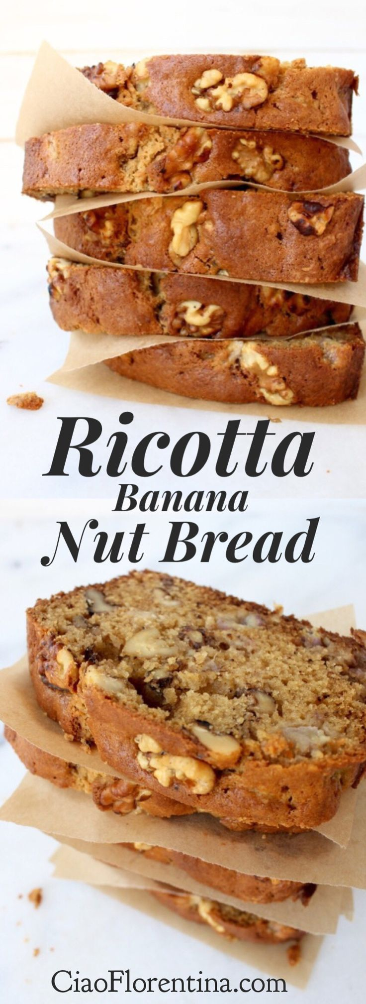 Best Banana Nut Bread Recipe of all time, easy and moist from ricotta cheese and olive oil, loaded with nutty candied walnuts | CiaoFlorentina.com @CiaoFlorentina