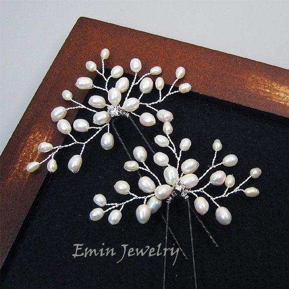 2 Perno de pelo nupcial conjunto - Off White Pearl Rhinestone bodas de plata horquillas - luz marfil especial ocasión pelo accesorios de la ...