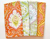 Cloth Napkins - Set of 4 - Dinner, Table, Everyday, Wedding - Mismatched, Assorted, Variety - Ikat Orange Yellow Green