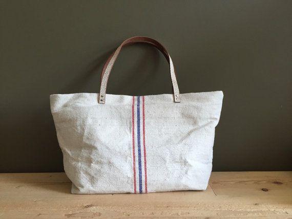 grainsack shoulder bag - light oatmeal feed sack tote bag - red and blue stripes beach tote - neutral shoulder bag - leather details