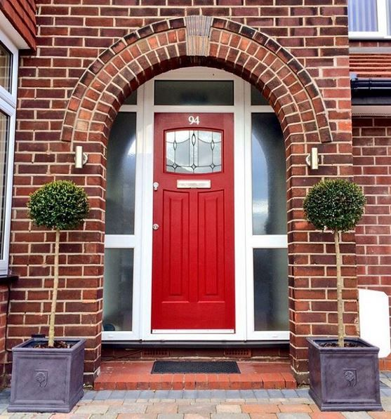 A Ruby Red Newark design, installed with Lantern Glass. #Rockdoor #RubyRed #Red #Doors #HomeImprovements