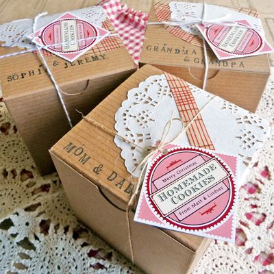 Adorable homemade cookie packages