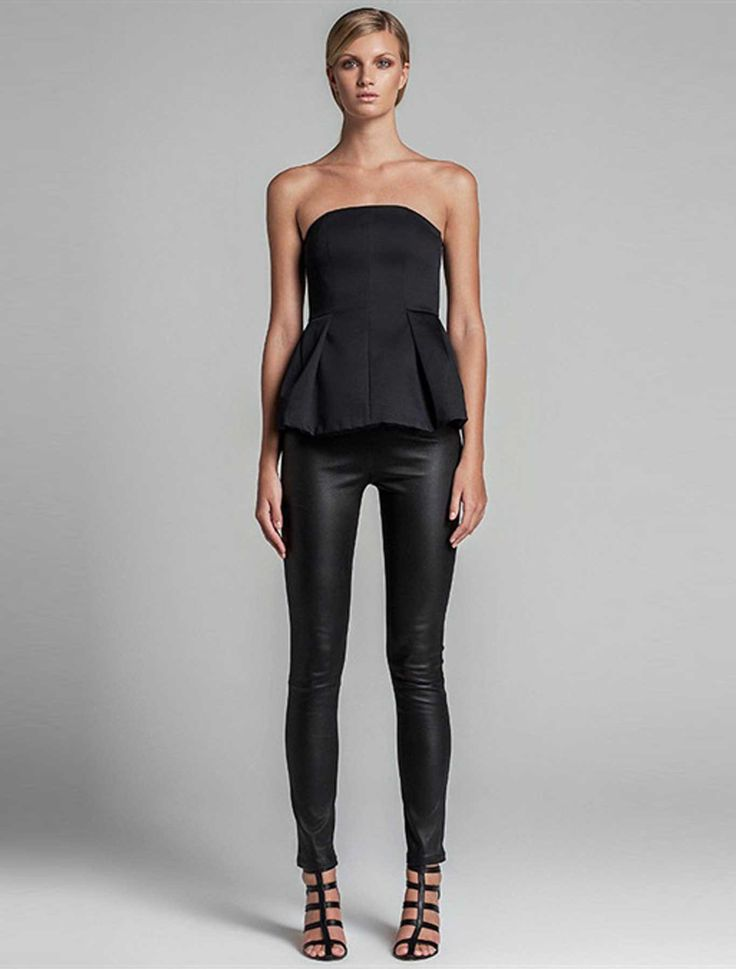 White Suede - Cigarette Stretch Leather Pants