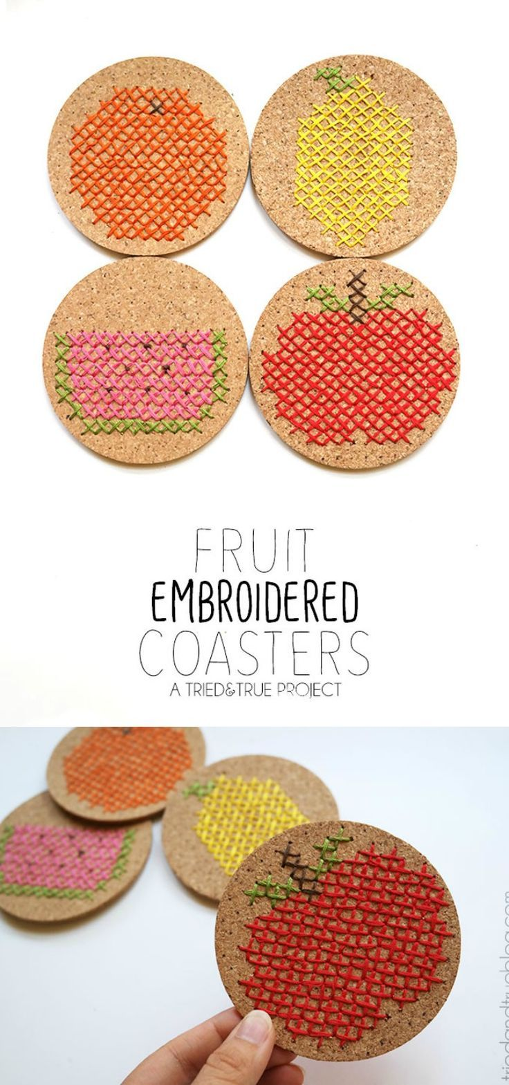 Everyone loves a good fruit project and a cute embroidery craft - the two come together in this DIY coasters project!