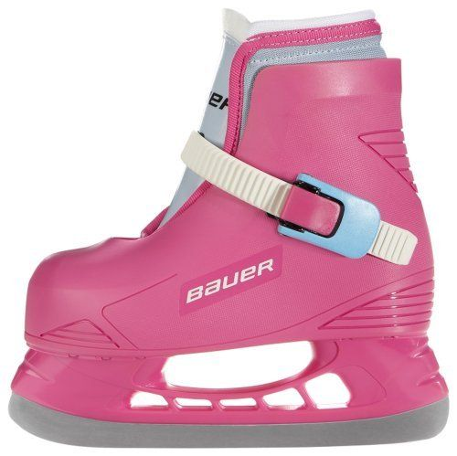 Toddler Ice Skates: Lil Angel-Pink-Youth 10/11 by Bauer. $34.99. The best way for your child to take to the ice for the first time is with real skates. Bauer's Lil Champ toddler ice skate is an excellent choice for the young beginner. The one piece molded shell with ratcheting ankle strap provides lots of support. The inner liner is comfortable and keeps feet warm on the ice. These skates tend to run small. Our suggested sizing is one size up from the child's ...