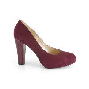 12704-149C Ante Cereza. Zapato de fiesta de mujer, con tacón, de la marca Ángel Alarcón. Otoño invierno 2012 2013. $39€
