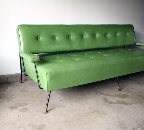 Superior 1960s Green Vinyl Sofa/Daybed. U2013 Manly Vintage