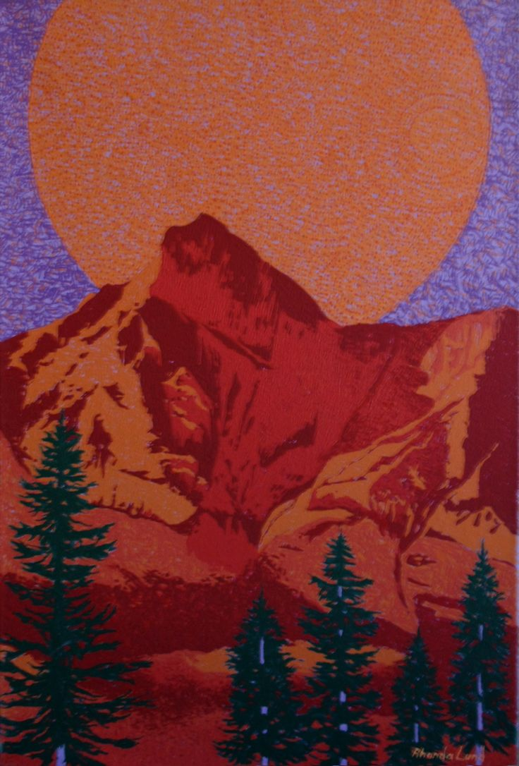 """Rocky Mountains and Basic Shapes"" by Artist Rhonda Lund 36 x 48"" Acrylic on Canvas; Staple back 2015 ' playing with a purple and red scheme in portrayal of the Rocky Mountains"