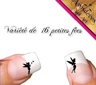 16 petites fée Sticker nail autocollant pour ongle motif ongle top coat gel