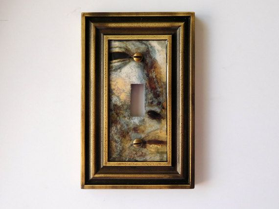 Switchplate Art, Face of Antiquity Light Switch Cover, Ancient Shield Switchplate, Antique Brass Light Switch Cover, Gold and Silver Patina #Patina #GoldAndSilver #AncientRoman #LightSwitchCover #SwitchplateArt #AntiqueBrass #Switchplate #WallSwitch #LightSwitch #AncientShield