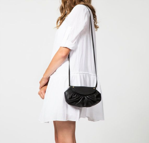 Small Black Leather Crossbody Bag & Convertible Clutch w Perforated Details and Rivet Studs - Black Cross Body Shoulder Handbag Purse