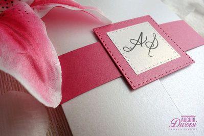 Auguri Diversi – Partecipazione di matrimonio in elegante carta perlata. Colore Azalea www.facebook.com/AuguriDiversi