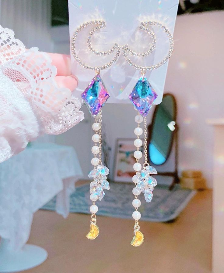 Glass Star Dust Earrings  Cottagecore Jewelry Soft girl Aesthetic Fairycore Accessories Lolita Aesthetic