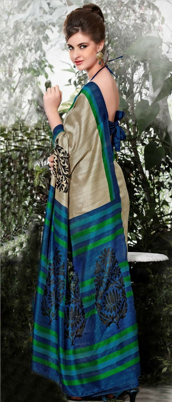 Dusty Beige and Blue Art Bhagalpuri #Silk #Saree with Blouse @ $27.61