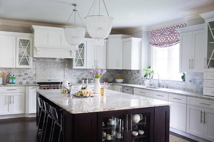 Amazing Kitchen Features A Pair Of Beaded Chandeliers