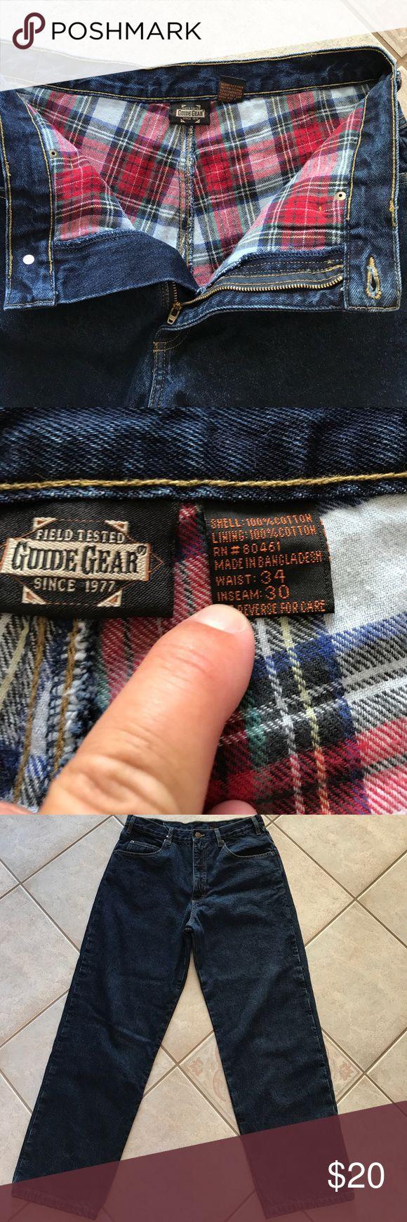 Guide Gear men's flannel lined jeans size 34x30 NWOT. Men's flannel lined jeans, dark wash. Any questions please ask size 34 x 30 Guide Gear Jeans
