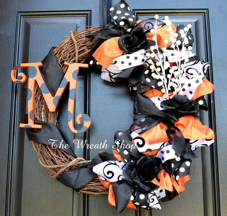 Monogram Halloween Wreath  Orange and Black by CreationsbySaraJane