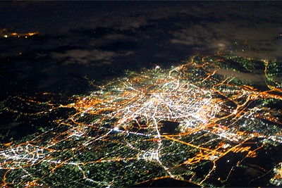 Night city from the airline