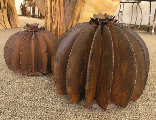 metal cactus yard art for sale | Barrel Cactus Metal Yard Art | Metal Cactus Garden Art | Lema's ...