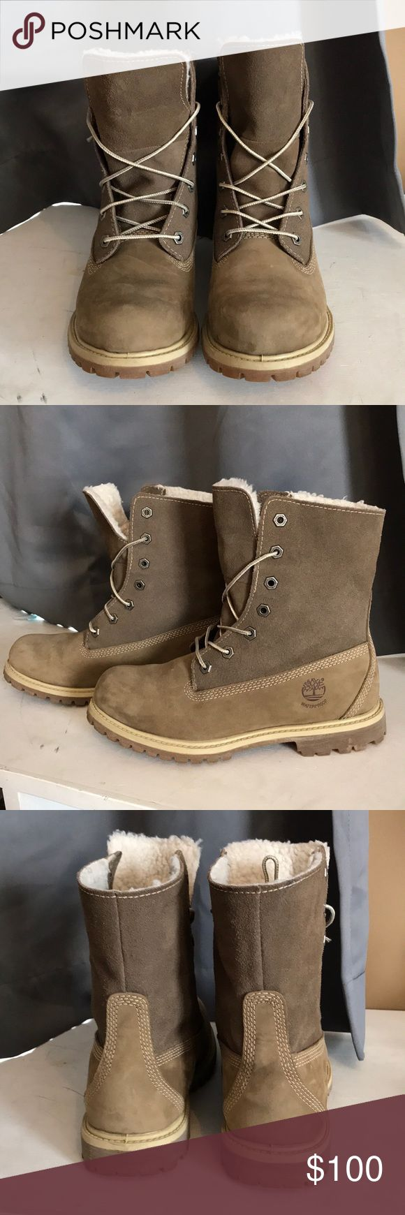Women's Timberland Fold Down Boots waterproof // worn twice (brand new) // hunter or olive green Timberland Shoes Combat & Moto Boots