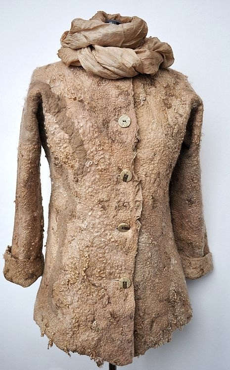 So wish this was my size! (It's a medium) Wool felted coat jacket HAZEL Natural fleece by irinaj67 on Etsy, $320.00