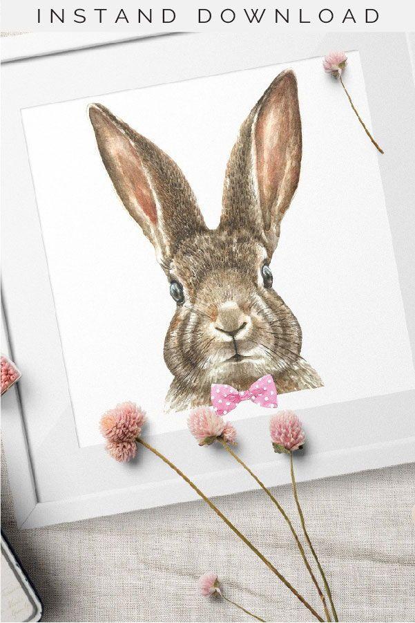 Watercolor Easter Bunny Creator Spring Design Clipart Design