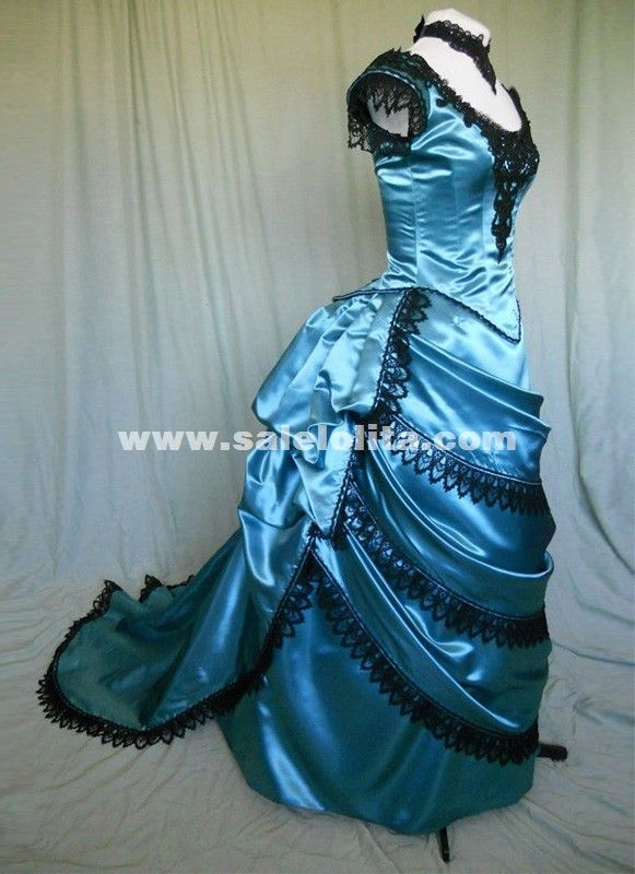 Brand New Blue Vintage Victorian Bustle Dresses Renaissance Medieval Southern Belle Wedding Ball Gowns Reenactment Clothing