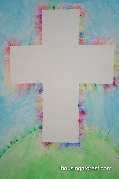 Colorful Cross Easter Art Project | AllFreeHolidayCrafts.com