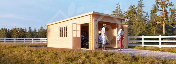 Garage en bois Modern à toit plat 400x600 44mm, 24m²