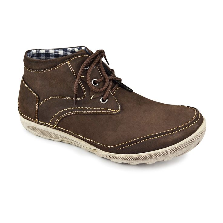 Muk Luks Mens Brandon Coffee Leather Lace up Casual