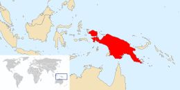 New Guinea (Tok Pisin: Niugini; Dutch: Nieuw-Guinea; Indonesian: Papua or, historically, Irian) is a large Island in the South West Pacific region. It is the world's second-largest island, after Greenland, covering a land area of 785,753 km2, and the largest wholly or partly within the Southern Hemisphere. The island is divided among two countries: Papua New Guinea to the east, and Indonesia to the west.