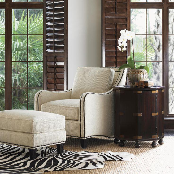 Royal Kahala Koko Chair U0026 Ottoman Combination With Decorative Nailhead Trim  By Tommy Bahama Home At Baeru0027s Furniture