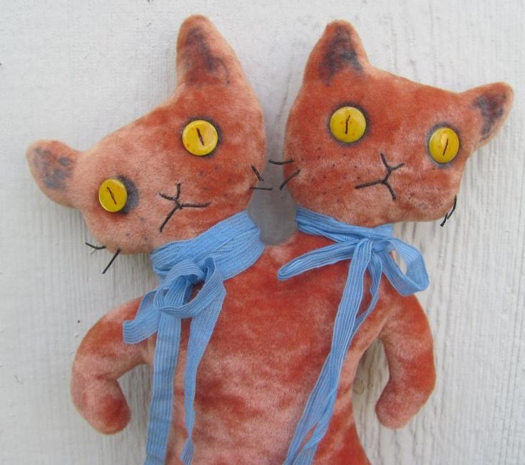 handmade creepy cute Siamese twins conjoined cats stuffed