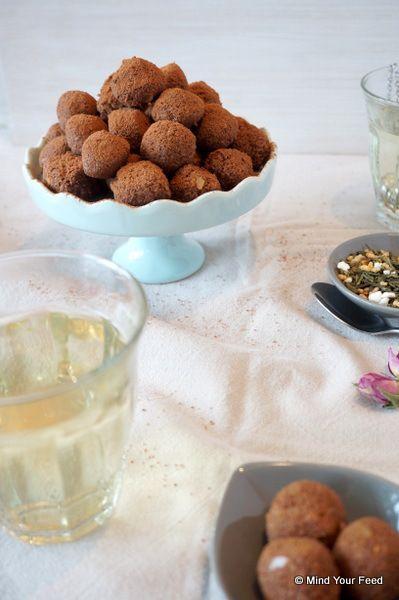 Chocolade kokos truffels met zoete aardappel
