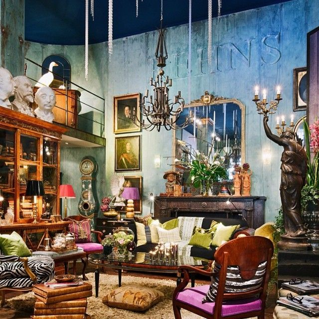 "REHNS (Antique Dealer & Interior Designer), ""Curiosities...An intrusion of  beautiful things,when More is More"", photo by Marilyn Bracks, pinned by Ton van der Veer"