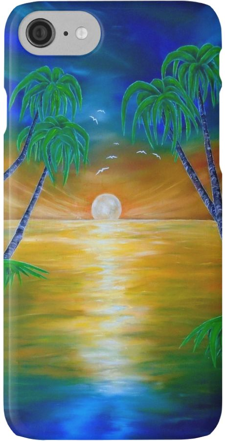 IPhone Case,  colorful,blue,cool,beautiful,fancy,unique,trendy,artistic,awesome,fahionable,unusual,accessories,for sale,design,items,products,gifts,presents,ideas,tropical,palmtrees,sunset,sea,redbubble