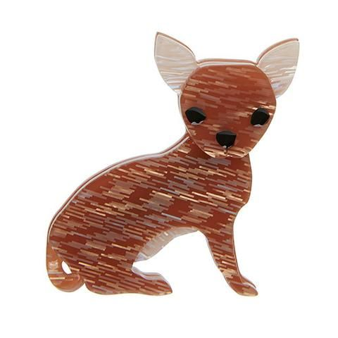 "Erstwilder Limited Edition Bruiser Bow Wow Brooch. ""Of enigmatic origin and often overprotective. Bruiser is a loyal companion of the carry-on variety."""