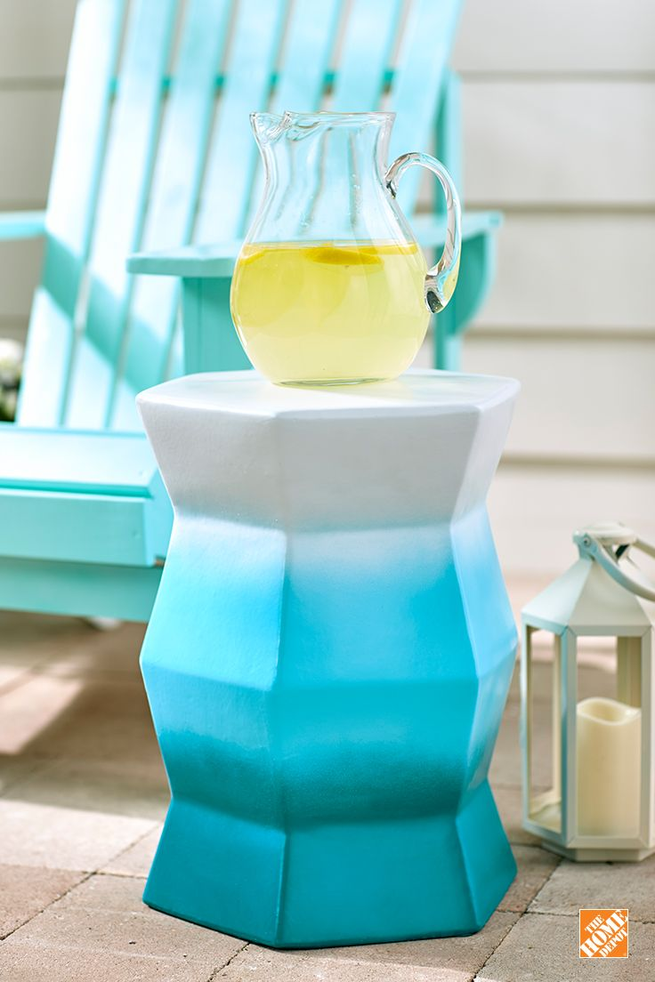 This cool ombré effect is easy to create on a patio stool. We used Rust-Oleum spray paint in three beachy colors. Click through to see the simple tutorial on The Home Depot Blog.